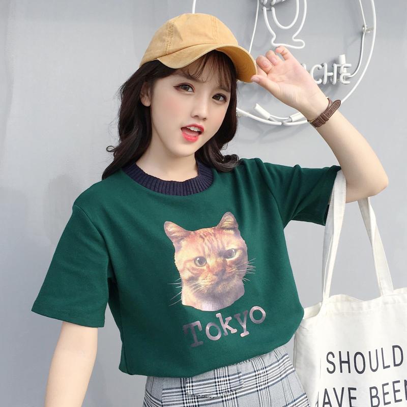 可可里小姐店铺酷酷的女装休闲减龄卡通印花短袖韩国宽松bf潮流夏