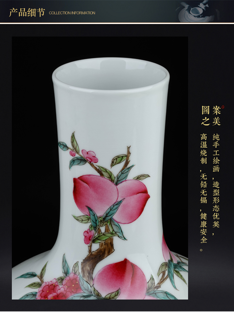 Jingdezhen ceramics famous hand - made family vase Chinese style living room TV ark, flower arranging porch is decorated furnishing articles