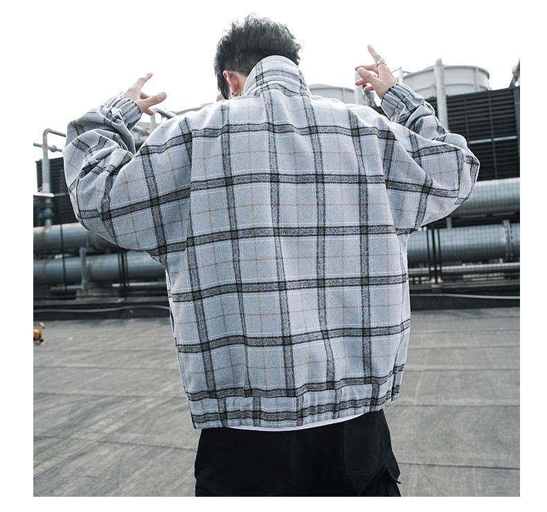 毛呢外套男士宽松工装夹克棒球服 JK18P85 深灰3