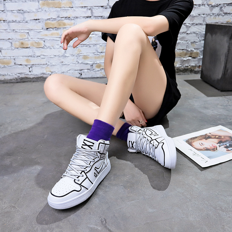 c47e05628f High-top shoes female 2018 autumn and Winter new Korean version of the  mountain wind sports shoes ins Street Beat wild couple Board shoes tide bf