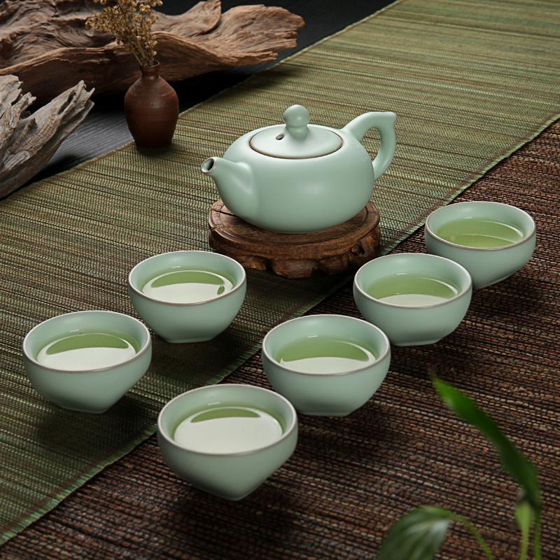 Набор для чайной церемонии Керамические gongfu чайный сервиз ru печи чайный сервиз открытия фильм ру фарфоровый набор чашка льда трещины глазури чайник