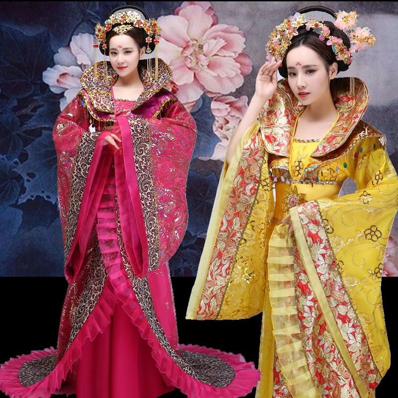 Chinese Folk Dance Dress Empress of Tang Dynasty performing costume tailing imperial concubine Hanfu Wu Zetian Dragon Robe palace Princess drama costume season