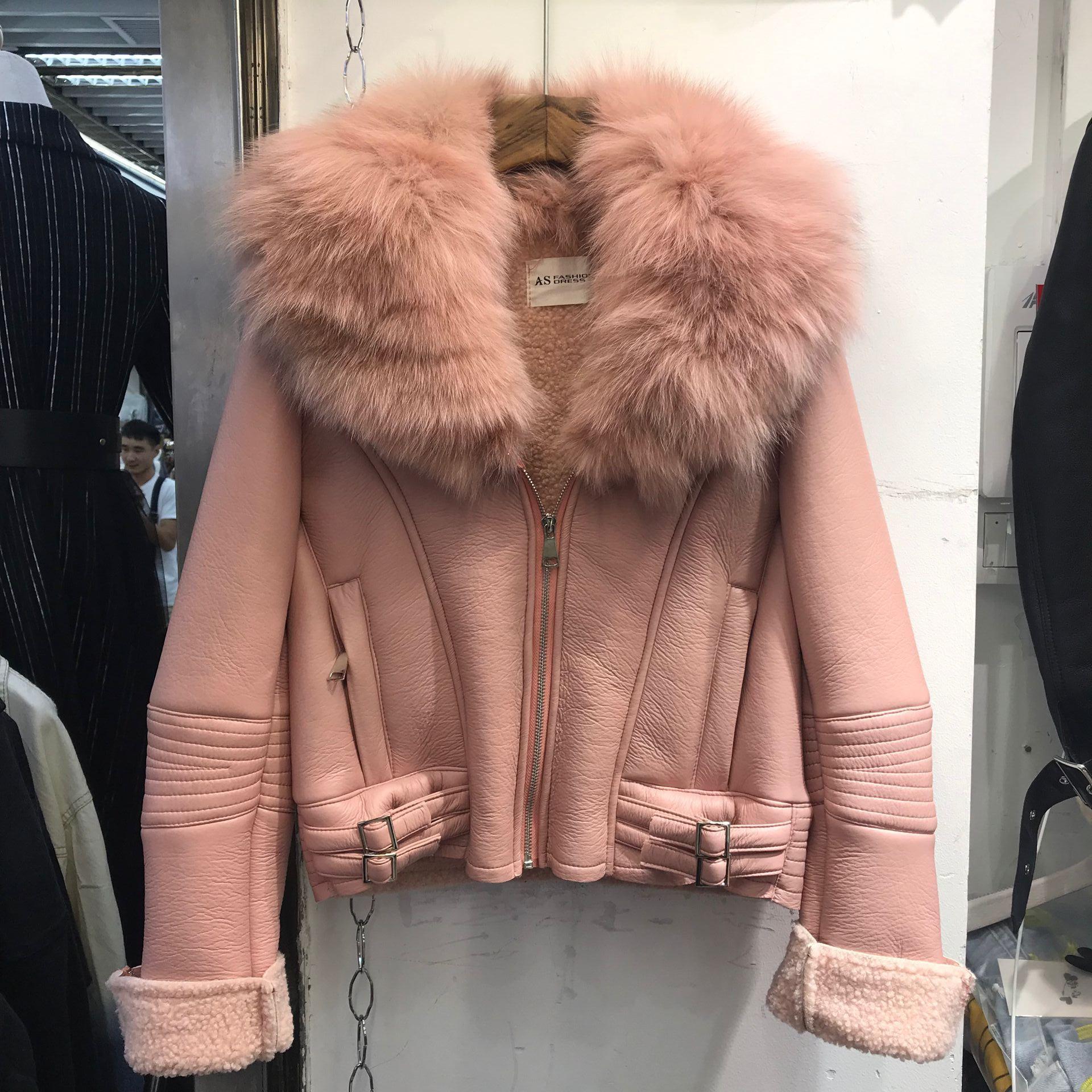 2019 новый корейский овец сдвиг шуба пальто короткие женские модели овец шерсть ягненка целая шкура пальто пальто лиса 603668637223