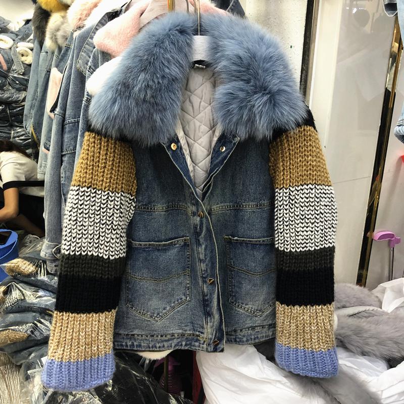 Ковбой хлопок канадские женщины толстая внешняя крышка зима краткое модель индивидуальный характер плюс хлопка вязание свитер рукав сращивание воротник подбитый 605106896834