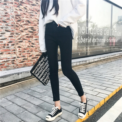 Play Octopus autumn women Korean version of the high-waist jeans waist thin elastic pencil pants nine feet pants