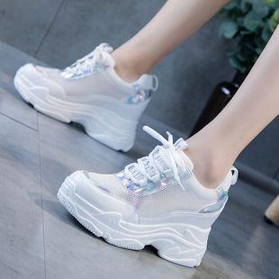 小白鞋女透气网面运动鞋2020夏季新款休闲鞋百搭老爹鞋内增高女70