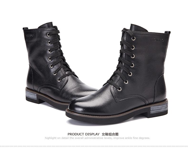 奥康女鞋 秋冬新款牛皮中跟侧拉链短靴英伦保暖舒适女靴高清展示图 15