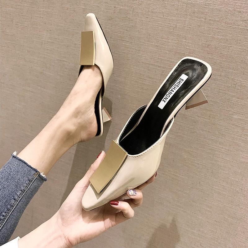 【火爱】粗高跟包头女凉鞋尖头半拖鞋