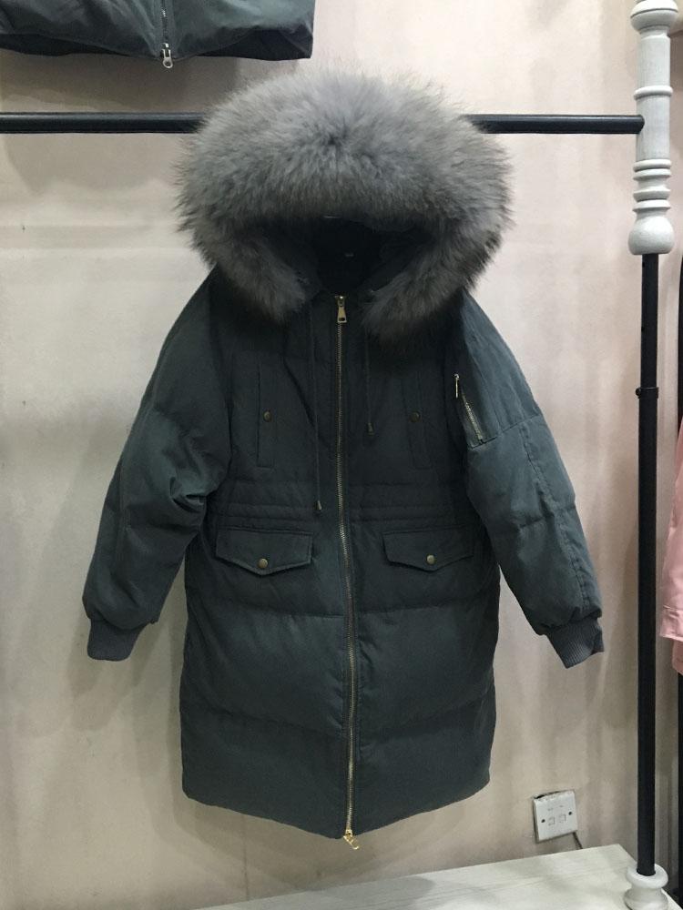 New Dongdaemun jeanette lỏng kích thước lớn dày phần dài cổ áo lông thú lớn xuống áo khoác của phụ nữ eo chống mùa giải phóng mặt bằng