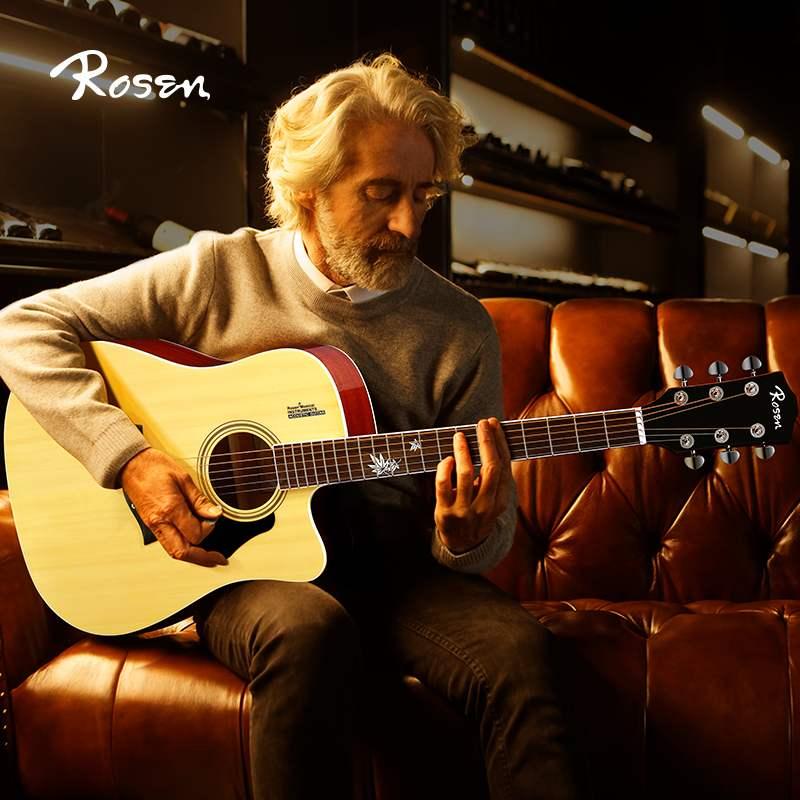 雅马哈Rosen卢森G12F单板吉他初学者学生男女用民谣木吉他41寸入