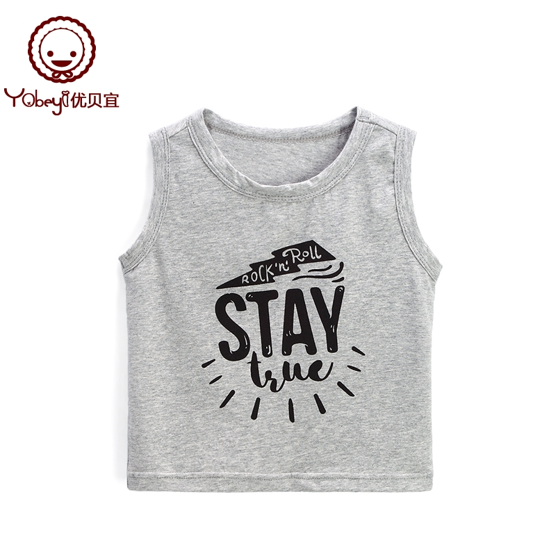 Excellent Beyi children's casual vest summer men and women round neck sleeveless shirt baby summer clothes thin paragraph