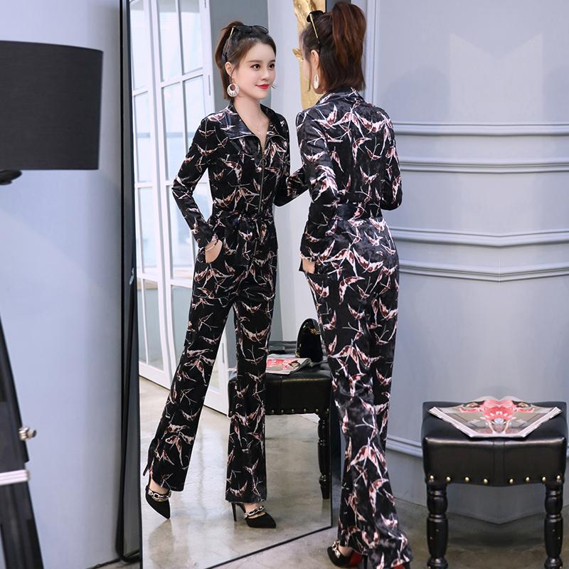 2018新款春秋季时尚小香风气质名媛金丝绒紧身修身长袖长裤套装女