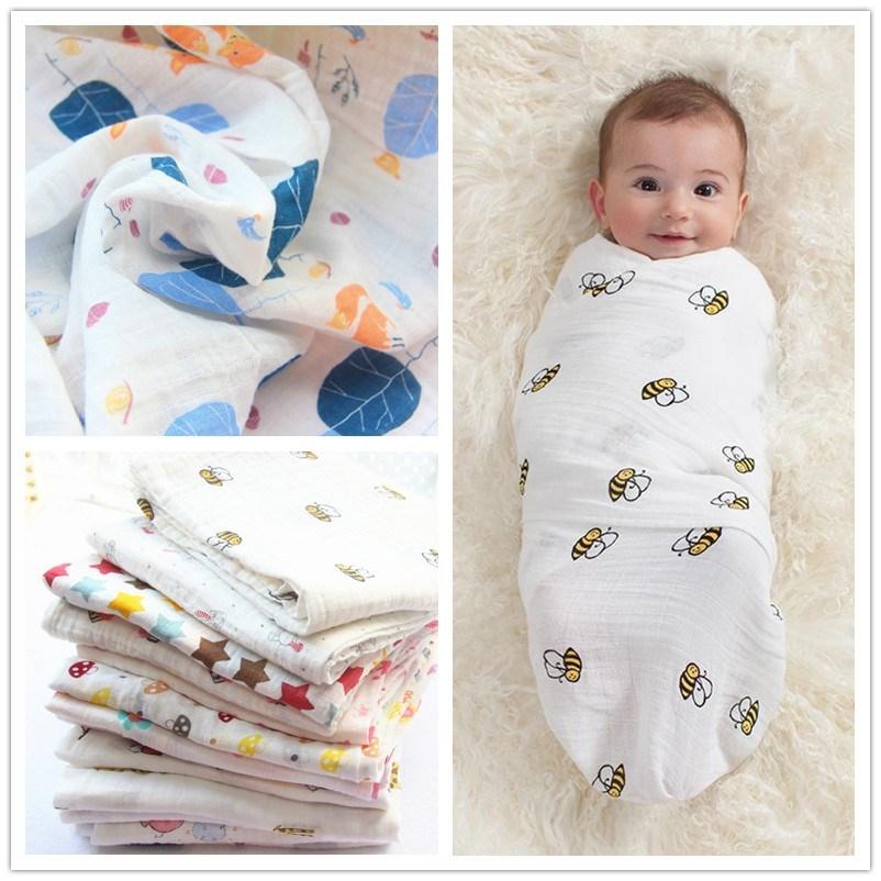 婴儿毛巾褥子包被襁褓外出防晒毛毯纱巾防风宝宝薄棉薄款斗篷可