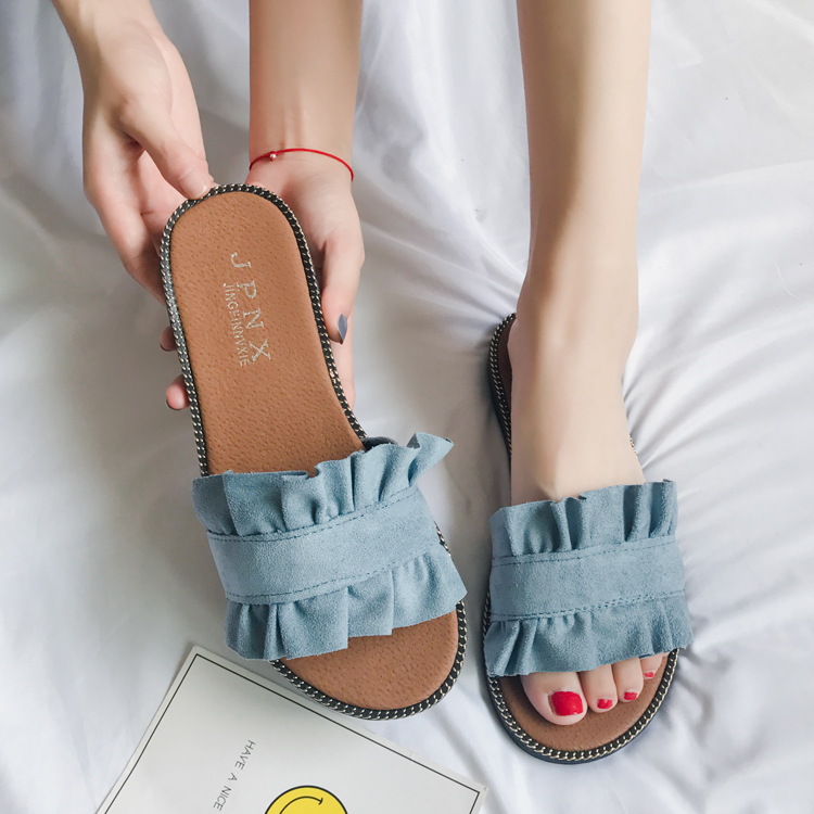 presenting best prices available Bow Slipper Female Summer 2018 New Fashion Word Mop Soft Outer ...