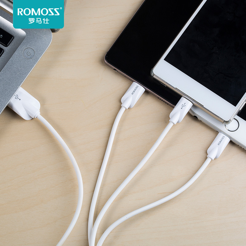 2.1A快充,安卓+蘋果+type-c三合一:羅馬仕 1.2米數據線充電線