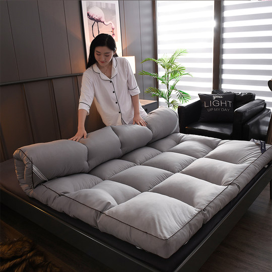 Pure color feather velvet mattress soft mattress 1.5m/1.8m bed double 2 meters thick 1.2 tatami bilateral folding