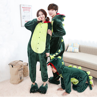 Parent-child one-piece pajamas autumn and winter models mother-child mother-daughter family of three and four-pack thickened girls cartoon family suit