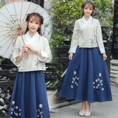 Original 2018 Spring and Autumn new improved Hanfu women's traditional long-sleeved classical dress embroidery two-piece suit