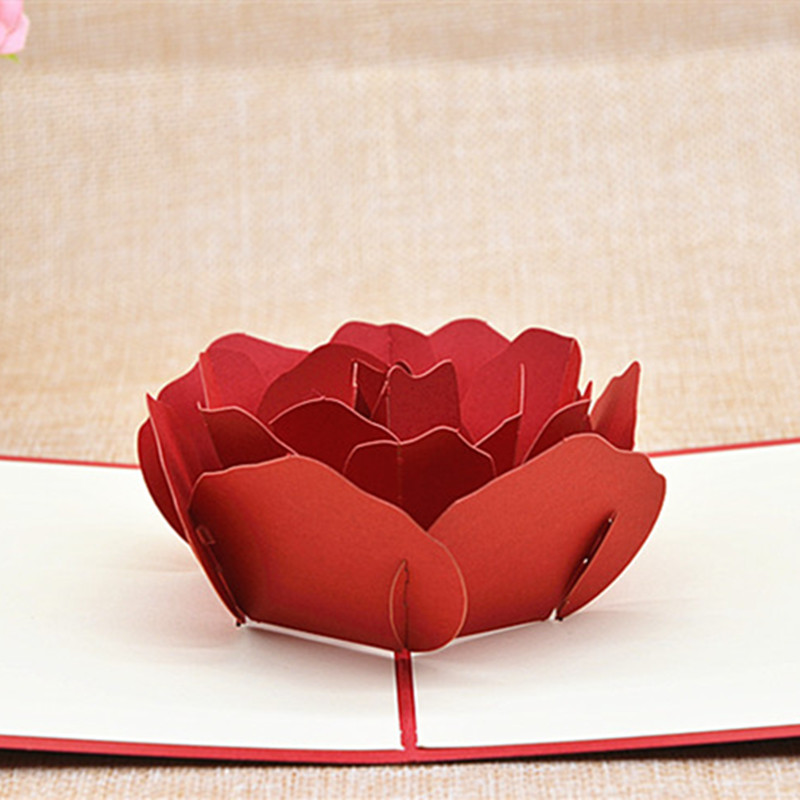 rose 3d three dimensional greeting cards creative confession valentines day gifts romantic send girlfriend