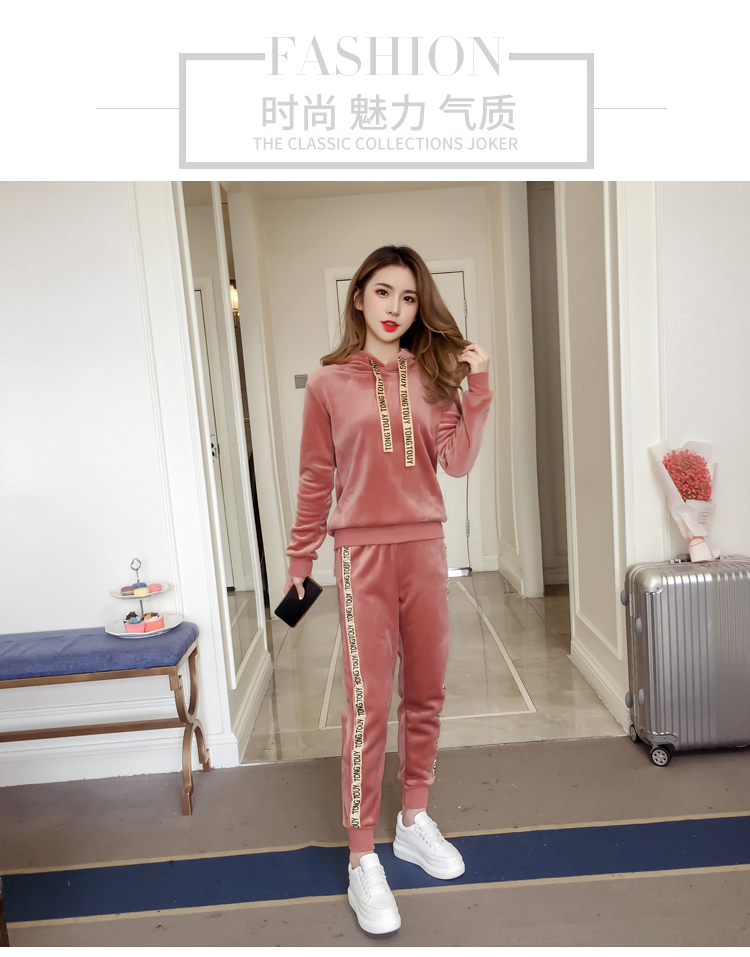 Plus plush plus thick gold velvet sports suit women's 2020 autumn/winter new loose hooded casual wear two-piece set tide 52 Online shopping Bangladesh