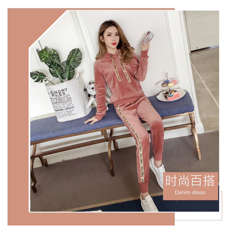 Plus plush plus thick gold velvet sports suit women's 2020 autumn/winter new loose hooded casual wear two-piece set tide 43 Online shopping Bangladesh