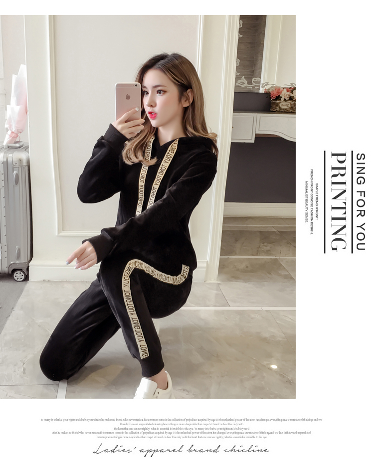 Plus plush plus thick gold velvet sports suit women's 2020 autumn/winter new loose hooded casual wear two-piece set tide 60 Online shopping Bangladesh