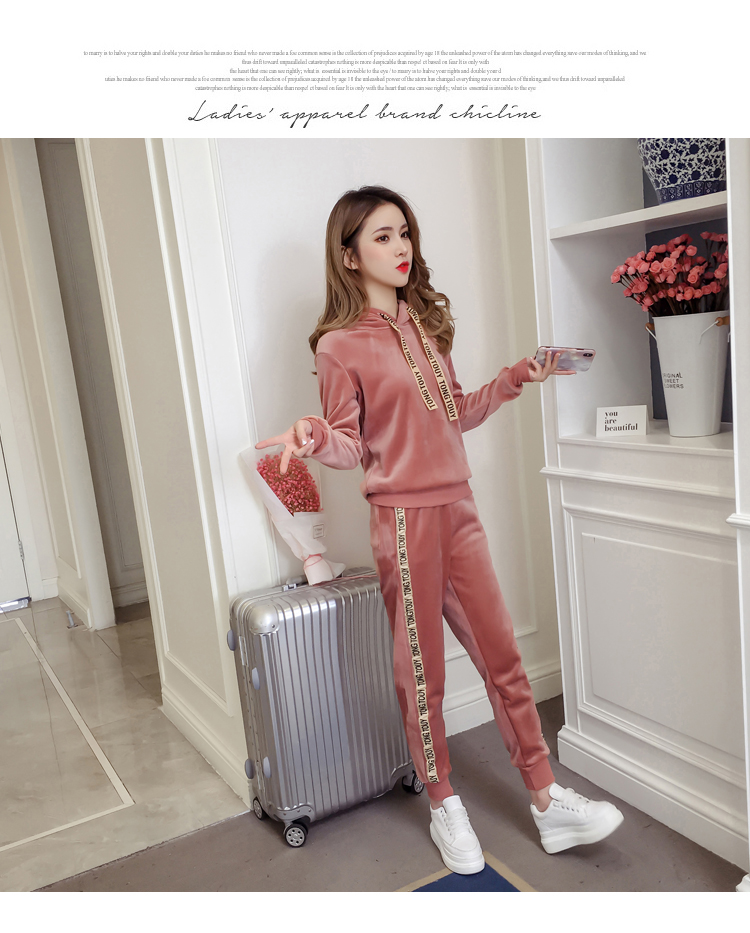 Plus plush plus thick gold velvet sports suit women's 2020 autumn/winter new loose hooded casual wear two-piece set tide 54 Online shopping Bangladesh