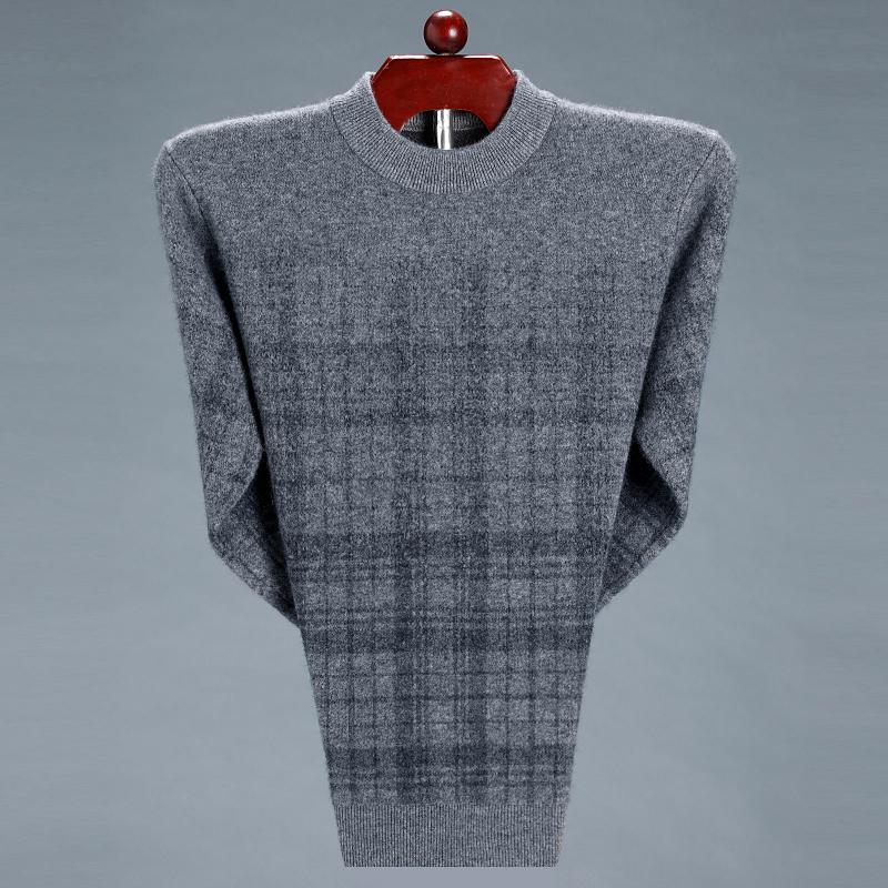 Áo len nam mùa đông rộng kích thước 200 kg áo len cashmere chất béo cha trung niên dày áo len nguyên chất ấm áp - Áo len Cashmere
