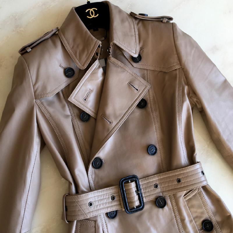 Mùa xuân và mùa thu mới Áo khoác da Hained dành cho nữ Áo khoác lửng ngắn nữ eo thon áo khoác da cừu - Quần áo da