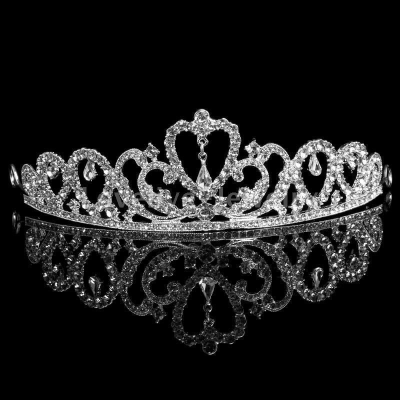 Diamante crystal wedding crowns tiaras bridal pageant prom heart image is loading diamante crystal wedding crowns tiaras bridal pageant prom junglespirit Choice Image