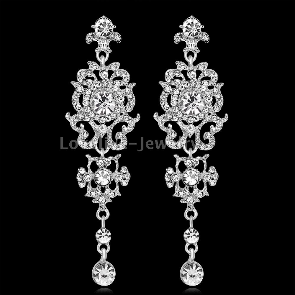 Elegant Silver Diamante Crystal Long Dangle Drop Earrings