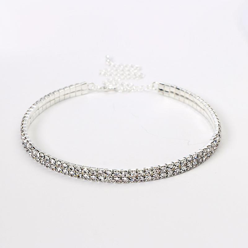 Wedding-Prom-2-5-Row-Stretch-Rhinestone-Choker-Necklace-Elegant-Diamante-Crystal