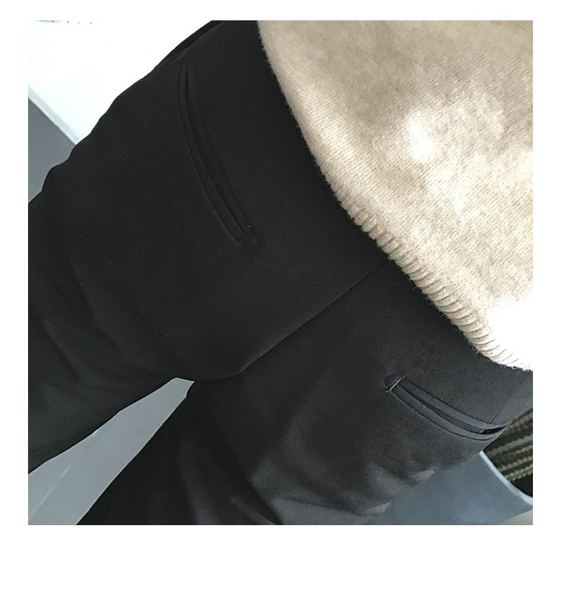 春季韩版休閒裤子西裤男直筒宽鬆黑色百搭坠感小脚九分裤修身潮流详细照片
