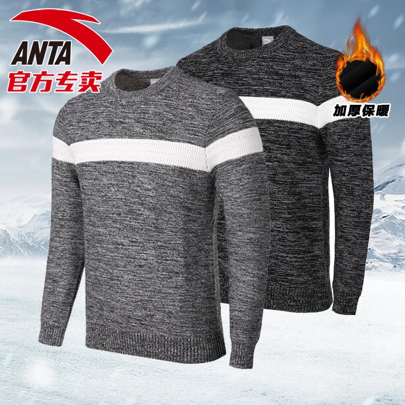 Anta dài tay T-Shirt áo len nam 2018 mùa xuân mới dày ấm áo len áo len dòng vòng cổ thể thao