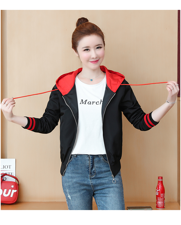 Casual hooded short jacket lady a hundred with spring and autumn 2020 new zip jacket clothes small 55 Online shopping Bangladesh
