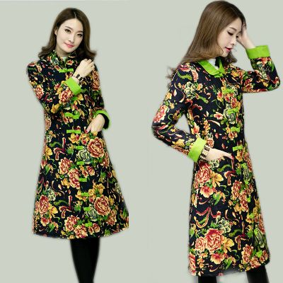 2017 winter new large size women's long section of the cashmere padded cotton and linen printing retro coat