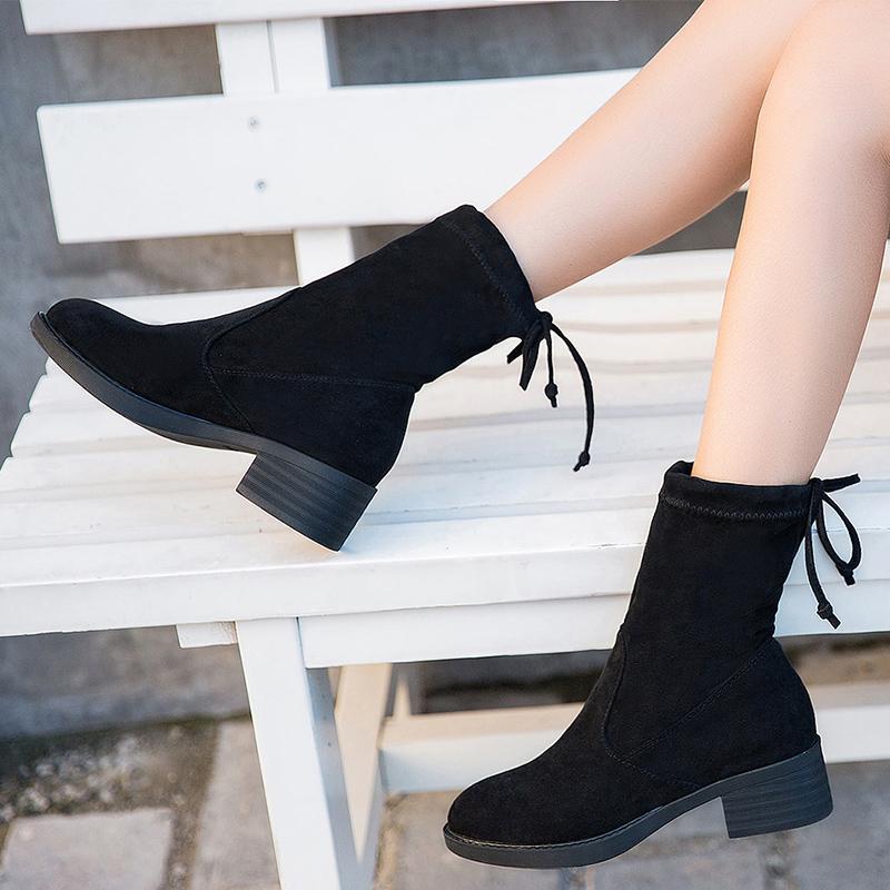 弹力意尔康靴子女粗跟短靴雪地2018新款瘦瘦靴秋冬靴中筒马丁女靴