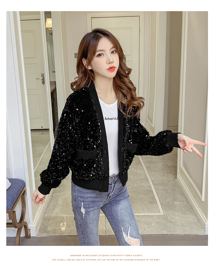 Autumn/Winter 2020 new Korean version of the fashion heavy nail sequin top loose show thin short line button jacket female tide 53 Online shopping Bangladesh