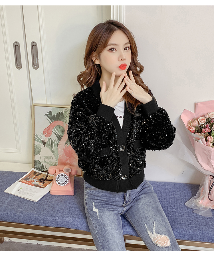 Autumn/Winter 2020 new Korean version of the fashion heavy nail sequin top loose show thin short line button jacket female tide 56 Online shopping Bangladesh