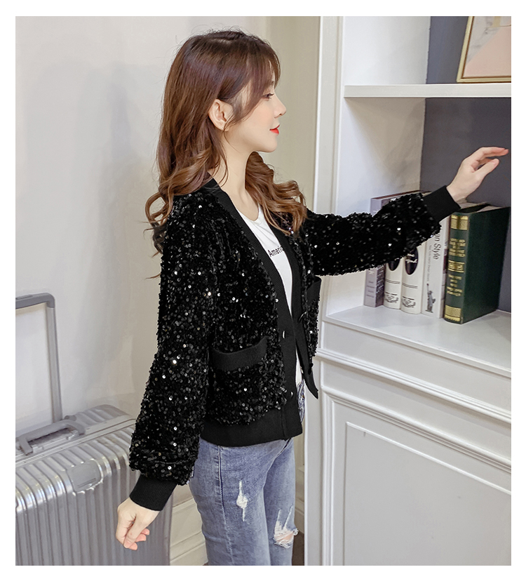 Autumn/Winter 2020 new Korean version of the fashion heavy nail sequin top loose show thin short line button jacket female tide 60 Online shopping Bangladesh