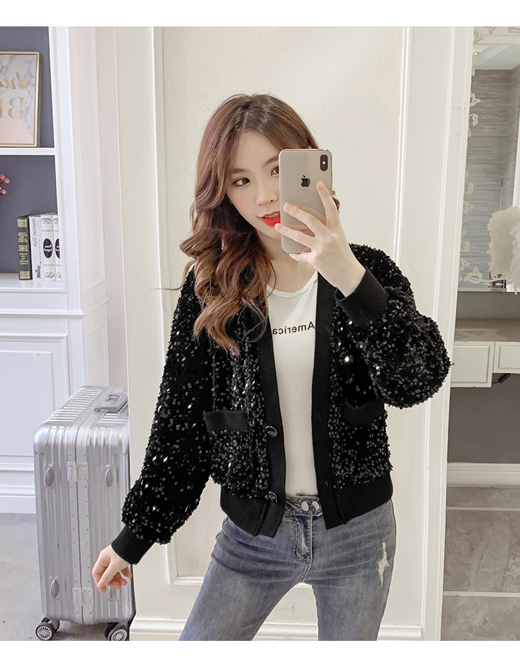 Autumn/Winter 2020 new Korean version of the fashion heavy nail sequin top loose show thin short line button jacket female tide 52 Online shopping Bangladesh