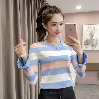 新款韩版时尚条纹长袖针织打底衫