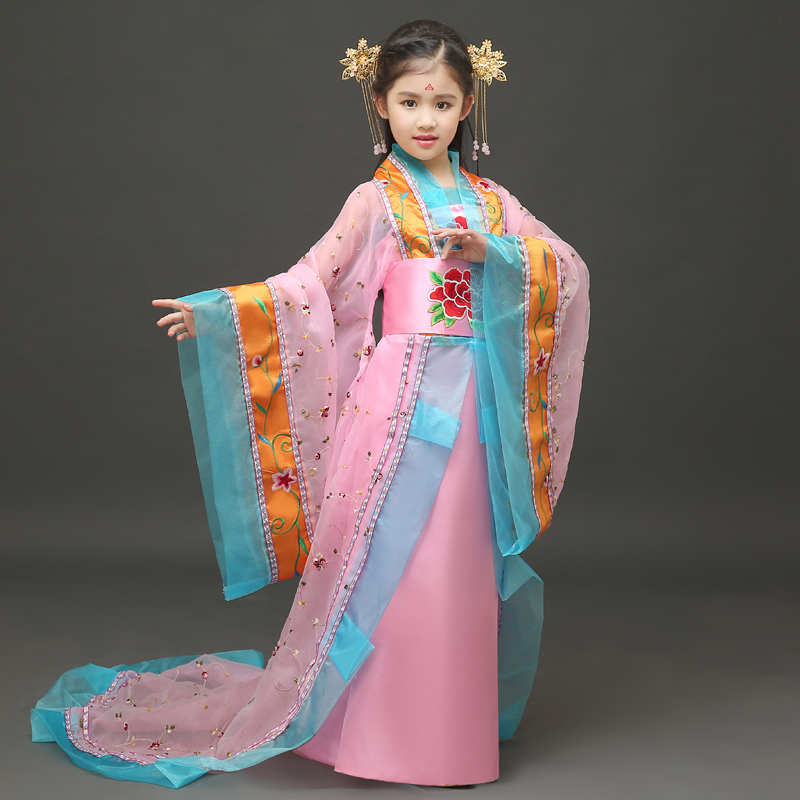 Children's costumes show girls trailing small chaise longue costumes  ancient Seven fairies costume Tang Princess dance costumes