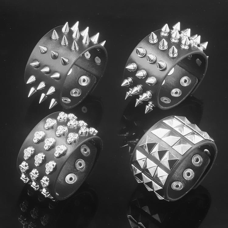 铆钉骷髅个性带刺柳钉防身摇滚朋克手链男女手镯摇滚饰品皮质手环