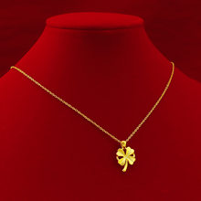Gold Necklace Full Gold 999 Four-leaf Clover Gold Pendant Apple Hard Gold Pendant Clavicle Thin Chain 24k Pure Gold Chain