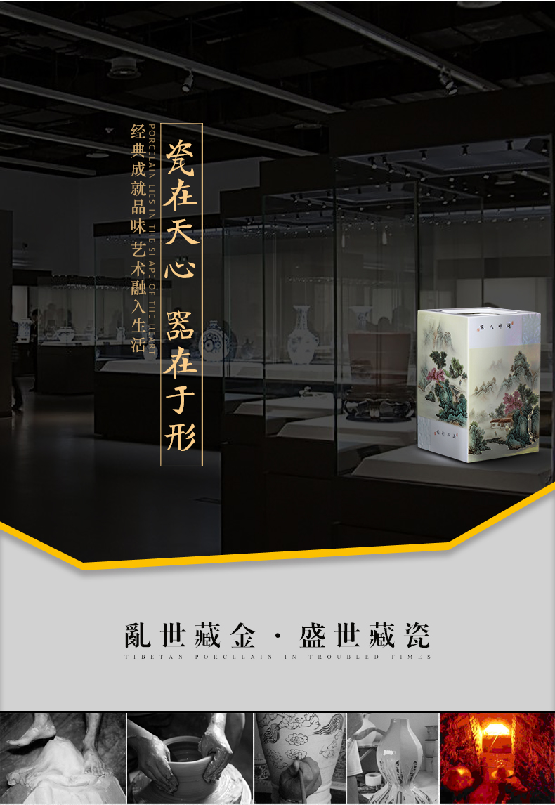 Jingdezhen ceramics powder enamel inlay is the sitting room porch office desktop furnishing articles of Chinese style household adornment picture tube