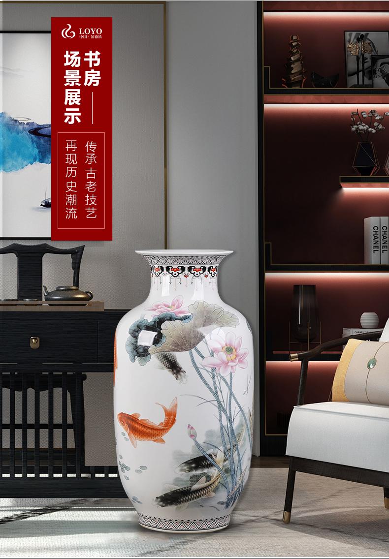 Jingdezhen ceramic vase pastel large antique Chinese style living room TV ark, home decoration floor furnishing articles arranging flowers