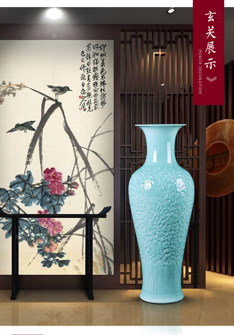 Jingdezhen ceramics of large vase celadon Chinese style living room decoration carving flower arranging place hotel opening taking
