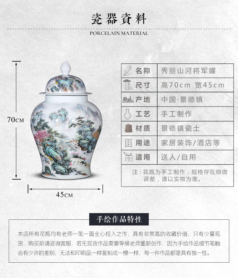Jingdezhen ceramics powder enamel porcelain tea pot large Chinese high - grade household sealed as cans accessories furnishing articles