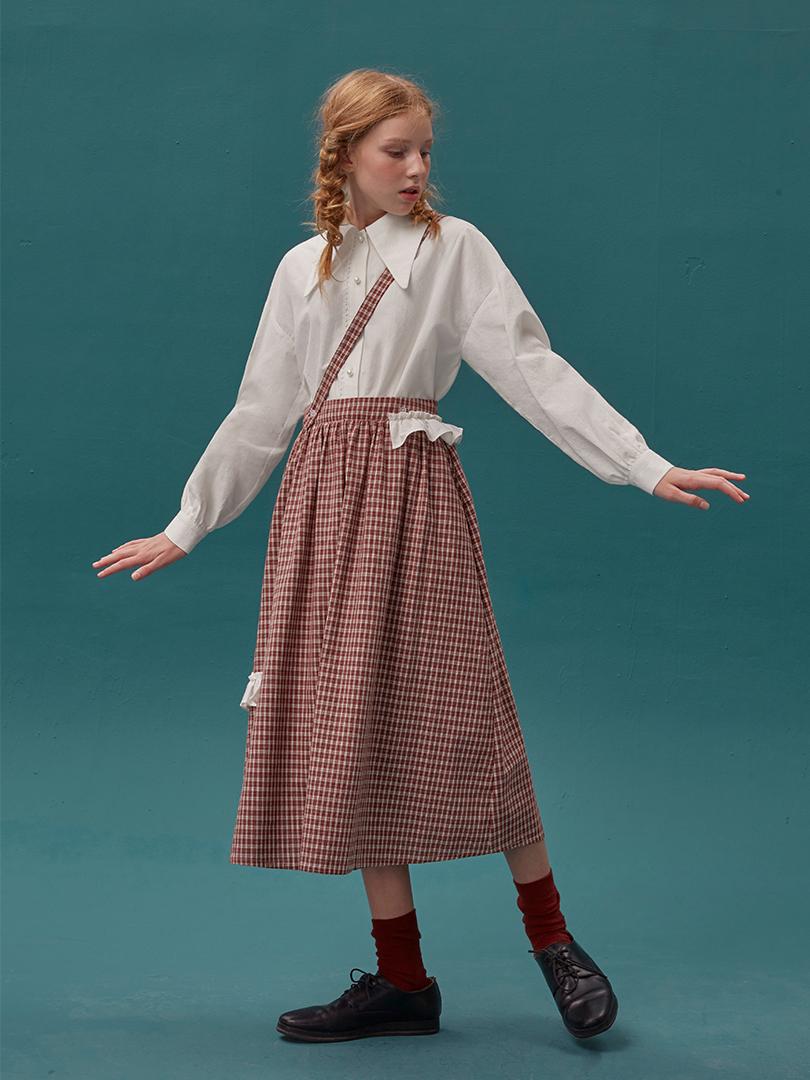 LLANO 背带中长款奶茶格子a字裙千鸟格半身裙伞裙长裙女秋冬季ins